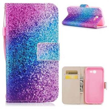 Rainbow Sand PU Leather Wallet Case for Samsung Galaxy J3 2017 Emerge US Edition