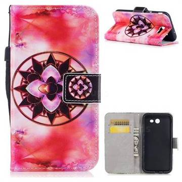 Red Mandala PU Leather Wallet Case for Samsung Galaxy J3 2017 Emerge US Edition