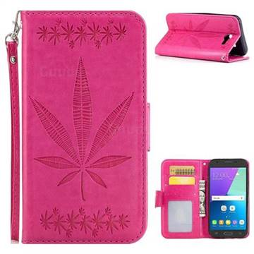 Intricate Embossing Maple Leather Wallet Case for Samsung Galaxy J3 2017 Emerge US Edition - Rose