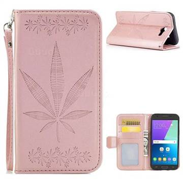 Intricate Embossing Maple Leather Wallet Case for Samsung Galaxy J3 2017 Emerge US Edition - Rose Gold