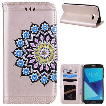 Datura Flowers Flash Powder Leather Wallet Holster Case for Samsung Galaxy J3 2017 Emerge US Edition - Golden