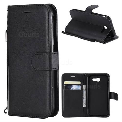 Retro Greek Classic Smooth PU Leather Wallet Phone Case for Samsung Galaxy J3 2017 Emerge US Edition - Black