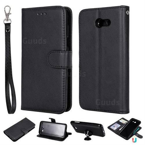 Retro Greek Detachable Magnetic PU Leather Wallet Phone Case for Samsung Galaxy J3 2017 Emerge US Edition - Black