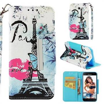 Lip Tower Big Metal Buckle PU Leather Wallet Phone Case for Samsung Galaxy J3 2017 Emerge US Edition