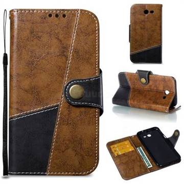 Retro Magnetic Stitching Wallet Flip Cover for Samsung Galaxy J3 2017 Emerge US Edition - Brown