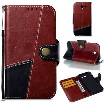 Retro Magnetic Stitching Wallet Flip Cover for Samsung Galaxy J3 2017 Emerge US Edition - Dark Red