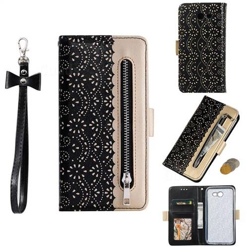Luxury Lace Zipper Stitching Leather Phone Wallet Case for Samsung Galaxy J3 2017 Emerge US Edition - Black