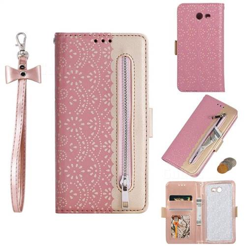 Luxury Lace Zipper Stitching Leather Phone Wallet Case for Samsung Galaxy J3 2017 Emerge US Edition - Pink