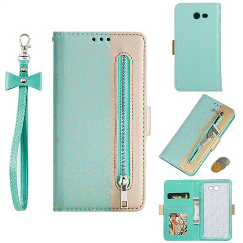 Luxury Lace Zipper Stitching Leather Phone Wallet Case for Samsung Galaxy J3 2017 Emerge US Edition - Green