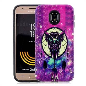 Starry Campanula Owl Pattern 2 in 1 PC + TPU Glossy Embossed Back Cover for Samsung Galaxy J3 2017 J330 Eurasian
