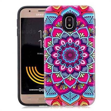 Datura Flowers Pattern 2 in 1 PC + TPU Glossy Embossed Back Cover for Samsung Galaxy J3 2017 J330 Eurasian