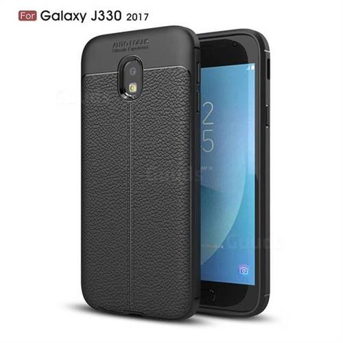 Luxury Auto Focus Litchi Texture Silicone TPU Back Cover for Samsung Galaxy J3 2017 J330 Eurasian - Black