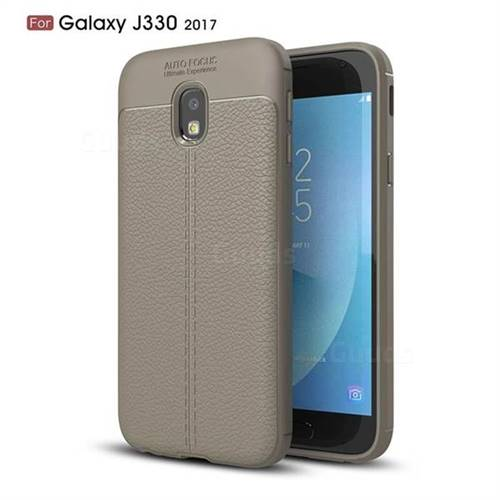 Luxury Auto Focus Litchi Texture Silicone TPU Back Cover for Samsung Galaxy J3 2017 J330 Eurasian - Gray