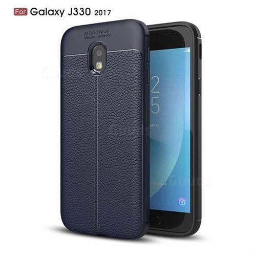 Luxury Auto Focus Litchi Texture Silicone TPU Back Cover for Samsung Galaxy J3 2017 J330 Eurasian - Dark Blue