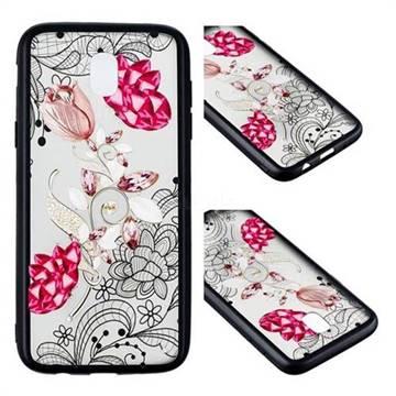 Tulip Lace Diamond Flower Soft TPU Back Cover for Samsung Galaxy J3 2017 J330 Eurasian