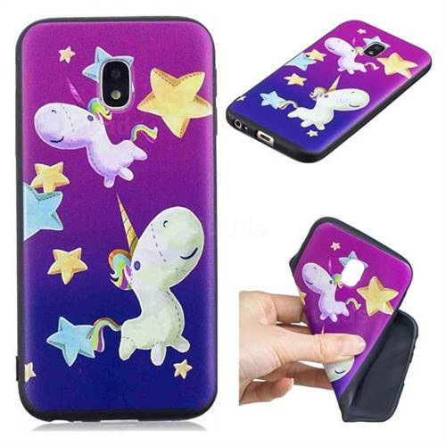 Pony 3D Embossed Relief Black TPU Cell Phone Back Cover for Samsung Galaxy J3 2017 J330 Eurasian