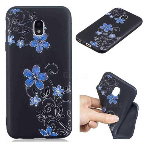 Little Blue Flowers 3D Embossed Relief Black TPU Cell Phone Back Cover for Samsung Galaxy J3 2017 J330 Eurasian