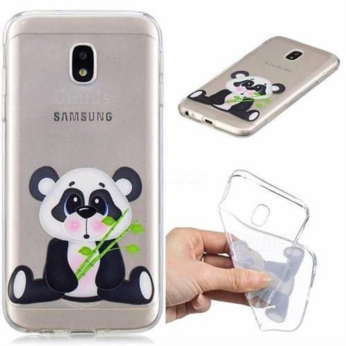 Bamboo Panda Clear Varnish Soft Phone Back Cover for Samsung Galaxy J3 2017 J330 Eurasian