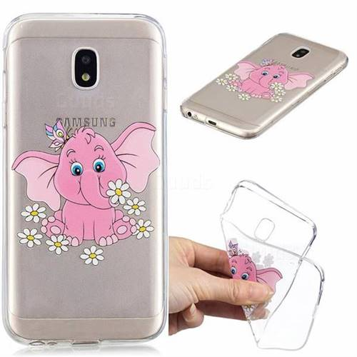 Tiny Pink Elephant Clear Varnish Soft Phone Back Cover for Samsung Galaxy J3 2017 J330 Eurasian