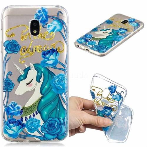 Blue Flower Unicorn Clear Varnish Soft Phone Back Cover for Samsung Galaxy J3 2017 J330 Eurasian
