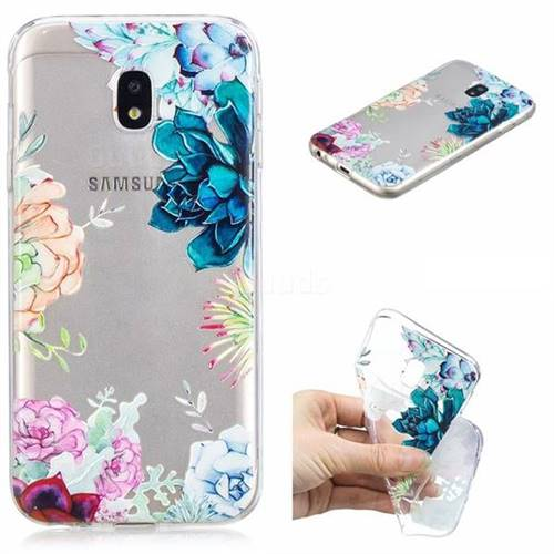 Gem Flower Clear Varnish Soft Phone Back Cover for Samsung Galaxy J3 2017 J330 Eurasian