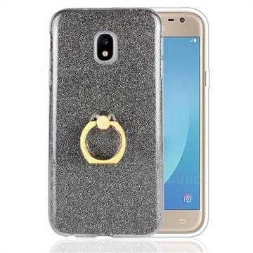 Luxury Soft TPU Glitter Back Ring Cover with 360 Rotate Finger Holder Buckle for Samsung Galaxy J3 2017 J330 Eurasian - Black