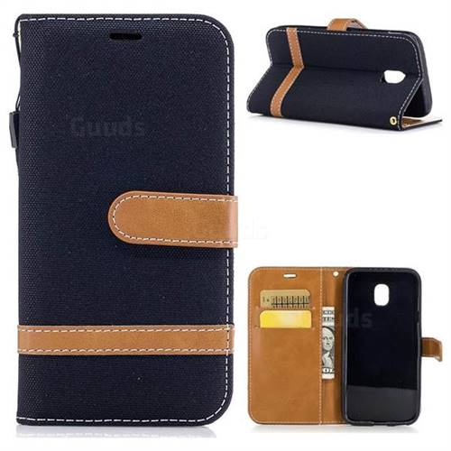 Jeans Cowboy Denim Leather Wallet Case for Samsung Galaxy J3 2017 J330 - Black