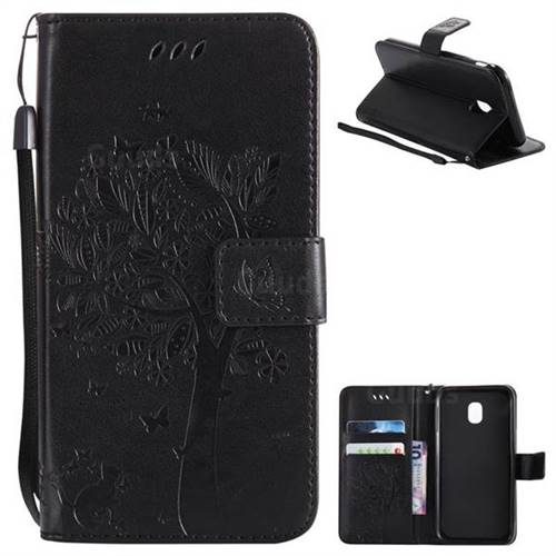 Embossing Butterfly Tree Leather Wallet Case for Samsung Galaxy J3 2017 J330 Eurasian - Black