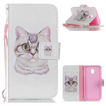 Lovely Cat Leather Wallet Phone Case for Samsung Galaxy J3 2017 J330 Eurasian