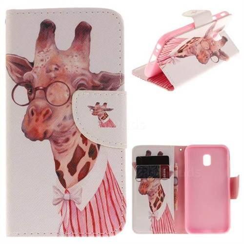 Pink Giraffe PU Leather Wallet Case for Samsung Galaxy J3 2017 J330 Eurasian