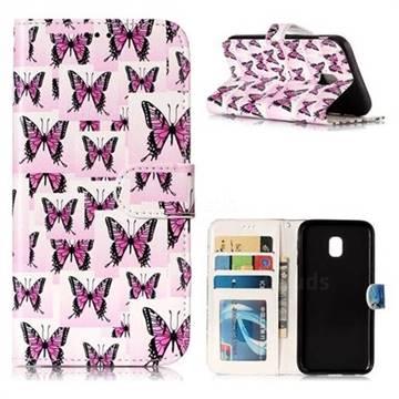 Butterflies Stickers 3D Relief Oil PU Leather Wallet Case for Samsung Galaxy J3 2017 J330 Eurasian