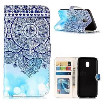 Totem Flower 3D Relief Oil PU Leather Wallet Case for Samsung Galaxy J3 2017 J330 Eurasian