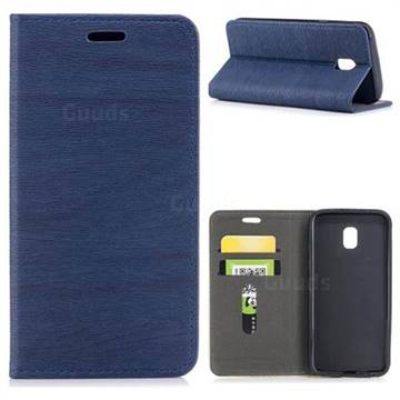 Tree Bark Pattern Automatic suction Leather Wallet Case for Samsung Galaxy J3 2017 J330 Eurasian - Blue