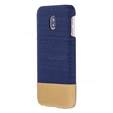 Canvas Cloth Coated Plastic Back Cover for Samsung Galaxy J3 2017 J330 Eurasian - Dark Blue