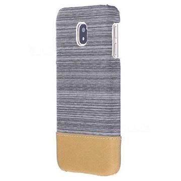 Canvas Cloth Coated Plastic Back Cover for Samsung Galaxy J3 2017 J330 Eurasian - Light Grey