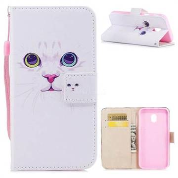 White Cat PU Leather Wallet Case for Samsung Galaxy J3 2017 J330 Eurasian