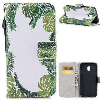 Green Leaves PU Leather Wallet Case for Samsung Galaxy J3 2017 J330 Eurasian