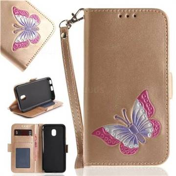 Imprint Embossing Butterfly Leather Wallet Case for Samsung Galaxy J3 2017 J330 Eurasian - Golden