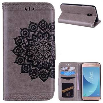 Datura Flowers Flash Powder Leather Wallet Holster Case for Samsung Galaxy J3 2017 J330 Eurasian - Gray