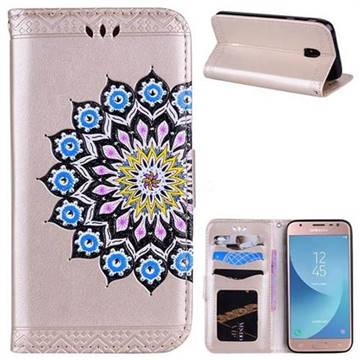 Datura Flowers Flash Powder Leather Wallet Holster Case for Samsung Galaxy J3 2017 J330 Eurasian - Golden