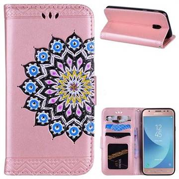 Datura Flowers Flash Powder Leather Wallet Holster Case for Samsung Galaxy J3 2017 J330 Eurasian - Pink