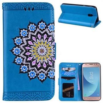 Datura Flowers Flash Powder Leather Wallet Holster Case for Samsung Galaxy J3 2017 J330 Eurasian - Blue