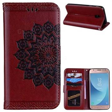 Datura Flowers Flash Powder Leather Wallet Holster Case for Samsung Galaxy J3 2017 J330 Eurasian - Brown