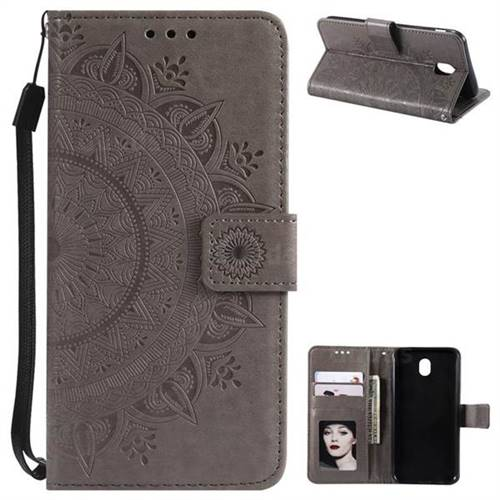 Intricate Embossing Datura Leather Wallet Case for Samsung Galaxy J3 2017 J330 Eurasian - Gray
