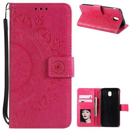Intricate Embossing Datura Leather Wallet Case for Samsung Galaxy J3 2017 J330 Eurasian - Rose Red