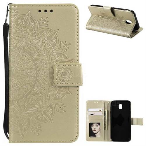 Intricate Embossing Datura Leather Wallet Case for Samsung Galaxy J3 2017 J330 Eurasian - Golden