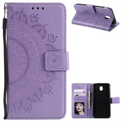 Intricate Embossing Datura Leather Wallet Case for Samsung Galaxy J3 2017 J330 Eurasian - Purple