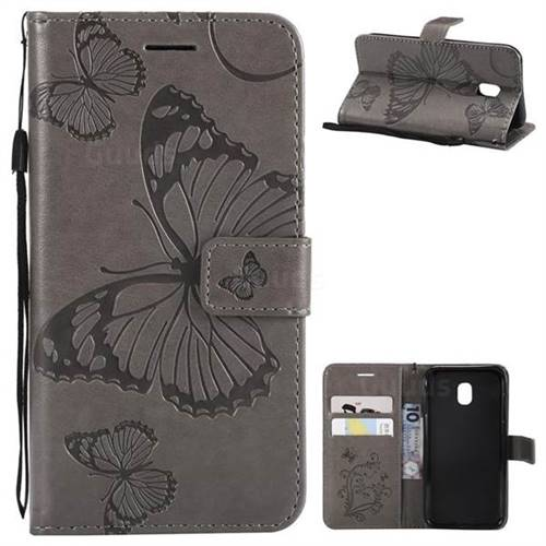 Embossing 3D Butterfly Leather Wallet Case for Samsung Galaxy J3 2017 J330 Eurasian - Gray