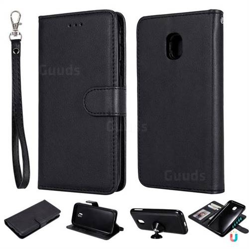 Retro Greek Detachable Magnetic PU Leather Wallet Phone Case for Samsung Galaxy J3 2017 J330 Eurasian - Black