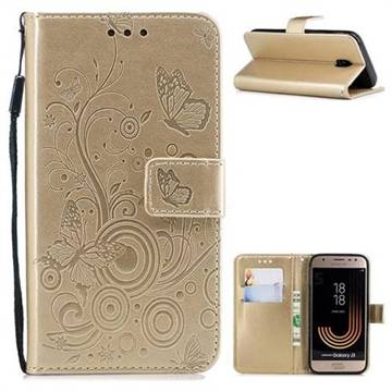 Intricate Embossing Butterfly Circle Leather Wallet Case for Samsung Galaxy J3 2017 J330 Eurasian - Champagne